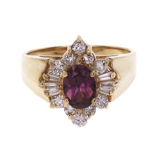 Estate Oval Garnet Diamond Ring 14k Yellow Gold