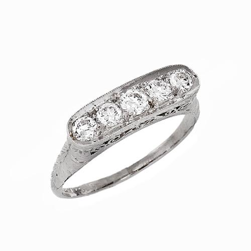 5 European Cut Diamond Platinum Ring