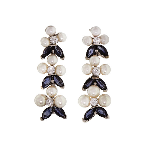 Pearl Sapphire Diamond Dangle Earrings 14k White Gold
