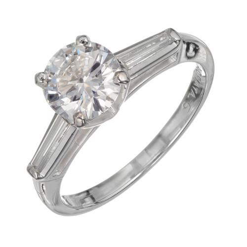 GIA Certified 1.07 Carat Diamond Platinum Engagement Ring