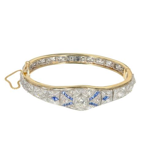 EGL Certified 3.65 Carat Diamond Sapphire Yellow Gold Platinum Bangle Bracelet