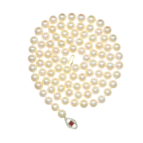 .16 Carat Ruby Diamond 14k Yellow Gold Cultured Pearl Necklace
