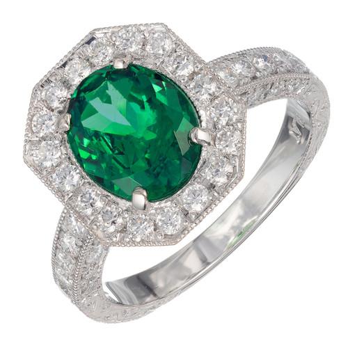Peter Suchy GIA Certified 1.85 Carat Garnet Diamond Platinum Ring
