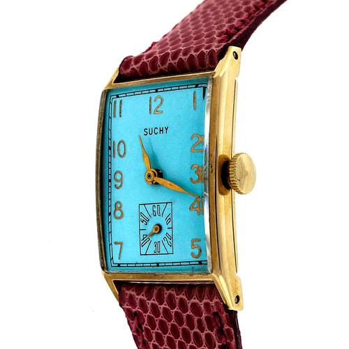Vintage 1945 Waltham 750B 14k Ice Blue Dial Men's Ladies Watch