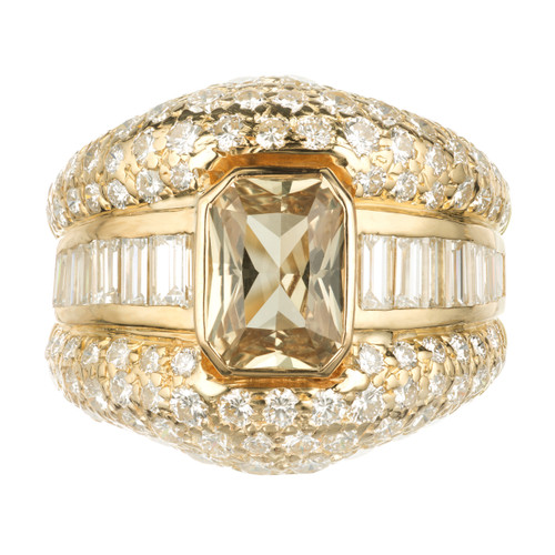 GIA Certified 2.30 Carat Sapphire Diamond 18k Yellow Gold Cocktail Ring