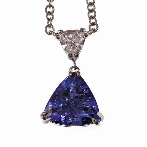 Peter Suchy Triangle Tanzanite Diamond Pendant 14k White Gold