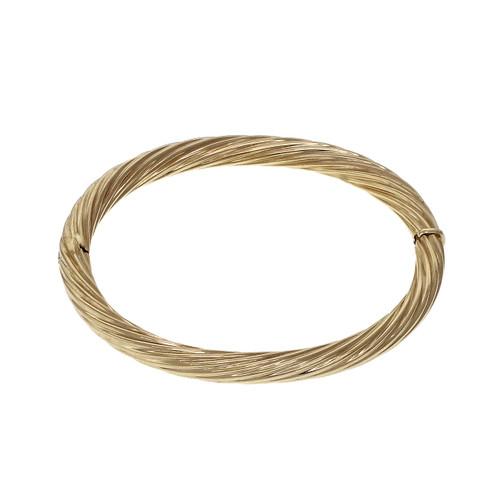 14k Yellow Gold Corrugated Twist Style Bangle Bracelet