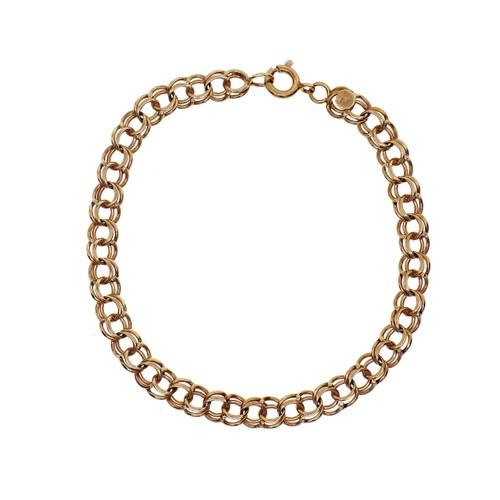 Spiral Link Charm Bracelet 14k Yellow Gold