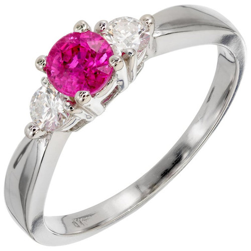 Peter Suchy .56 Carat Pink Sapphire Diamond Gold Three-Stone Engagement Ring