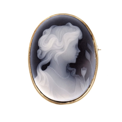Hardstone Carver Cameo Pin Pendent 14k Yellow Gold