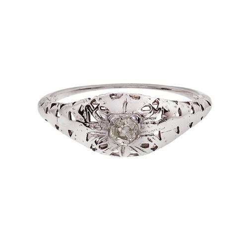 Vintage 1930 Filigree Engagement Ring Old Mine Cut Diamond 14k White Gold