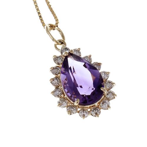 Vintage 1960 Amethyst Pear Shape Pendant 14k Diamond