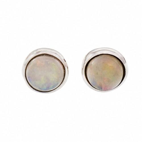 Round Opal Stud Earrings 14k White Gold