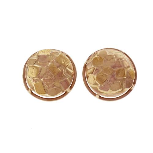 Cube Design Button Earrings 14k Yellow Gold