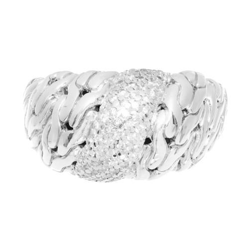John Hardy Diamond Silver Gold Dome Ring