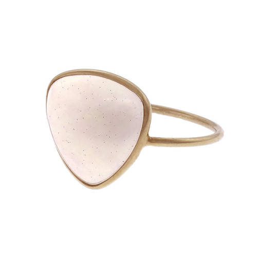 Ethiopian Opal Translucent 3.33ct Triangle Ring 18k Yellow Gold