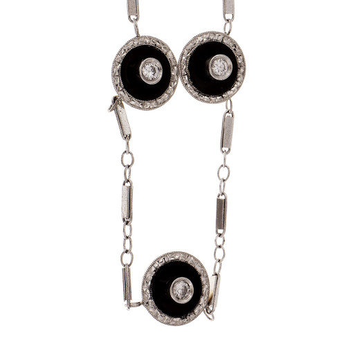 Onyx Diamond Necklace Converted From Tiffany & Co Shirt Studs Platinum 14k