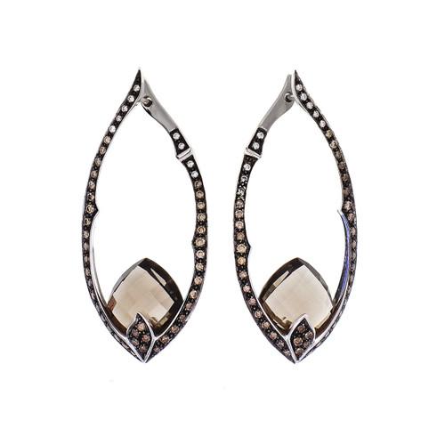 Champaign Diamond Smoky Quartz Earrings 18k White Gold 1.30ct Diamond