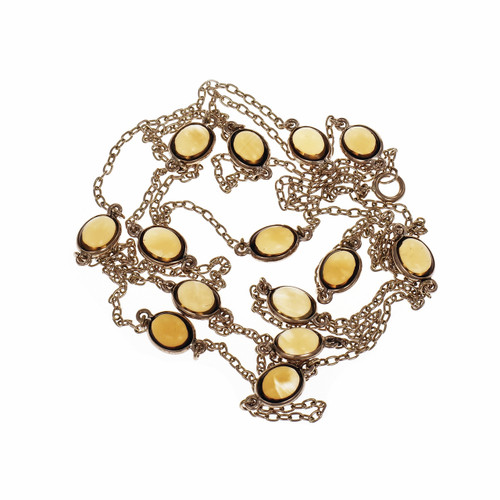 Vintage 1940 42 Inch Citrine Long Chain 14k Yellow Gold Necklace