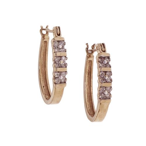Diamond Hoop Earrings 14k Gold Hinged Post