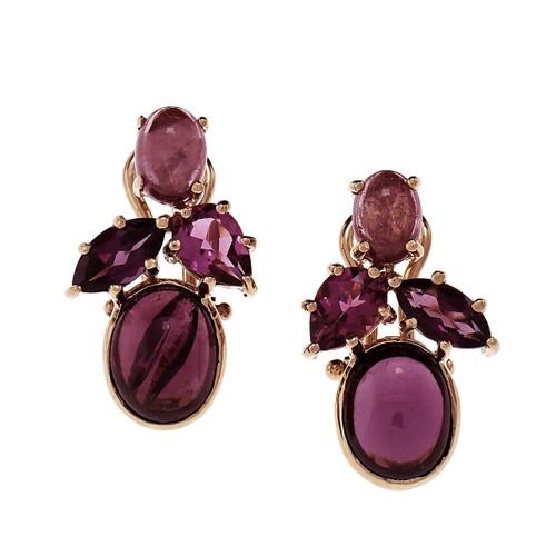 Estate Pink Tourmaline Garnet Clip Post Earrings 14k Gold