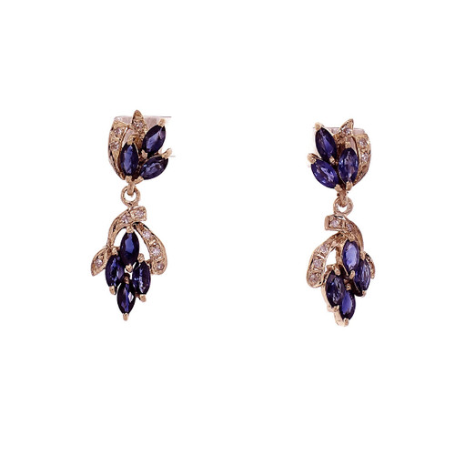 Estate Marquise Sapphire Dangle Earrings 14k Yellow Gold Diamond