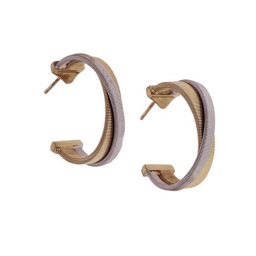 Marco Bicego Masai Hoop Earrings 18k Yellow White Gold