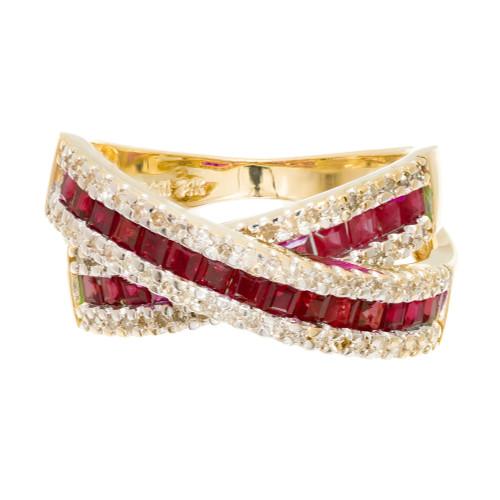 .60 Carat Ruby Diamond Yellow Criss-Cross Gold Band Ring