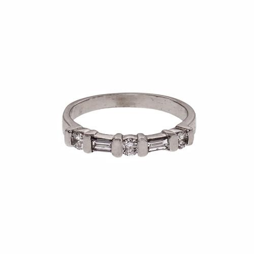 Estate Baguette Round Diamond Wedding Ring Platinum