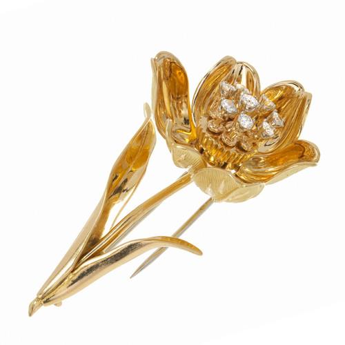 Mid Century Vintage 18k Yellow Gold Entremblant .40ct Diamond Flower Pin