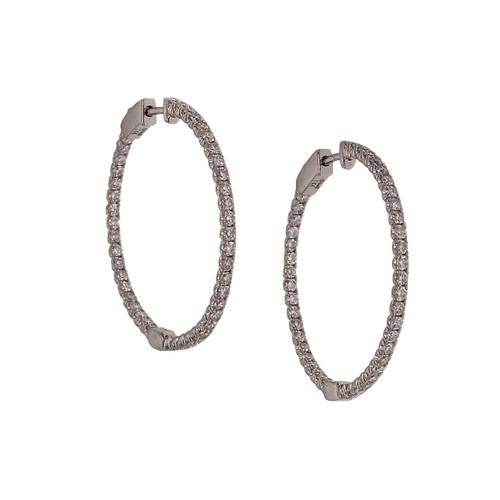 Venetti Diamond Hoop Earrings 1.32ct Inside Out 14k White Gold