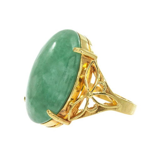 GIA Certified Natural Jadeite Jade Yellow Gold Cocktail Ring