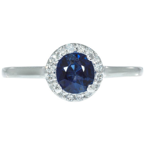 Peter Suchy GIA Certified 1.05 Carat Sapphire Diamond Platinum Engagement Ring