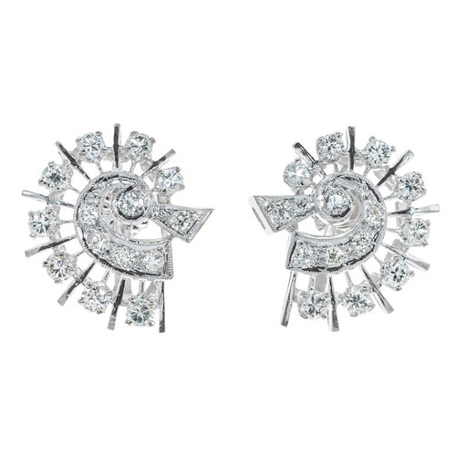 1.00 Carat Diamond White Gold Comet Design Earrings