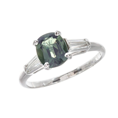 AGL Certified 1.53 Sapphire Diamond Platinum Engagement Ring