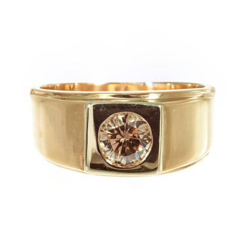 EGL Certified .65 Carat Orange Brown Diamond 14k Yellow Gold Unisex Ring