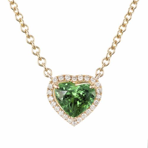 Peter Suchy GIA Certified 1.88 Carat Tsavorite Diamond 18k Pendant Necklace
