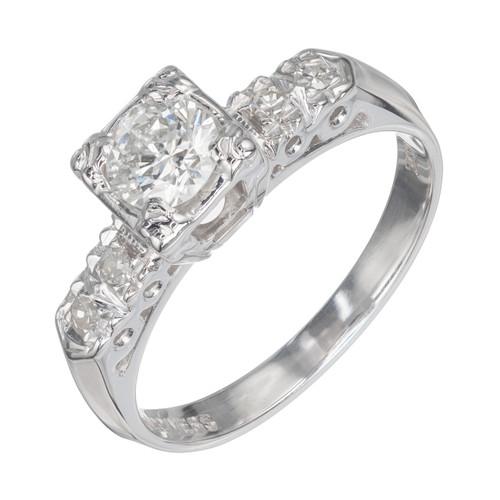 EGL Certified .43 Carat Diamond 14k White Gold Engagement Ring