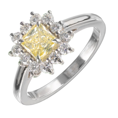 Peter Suchy GIA Certified .55 Carat Yellow Diamond Platinum Engagement Ring