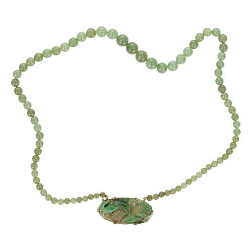 GIA Certified Vintage 1950 Natural Jadeite Jade 14k Yellow Gold Pendant Necklace