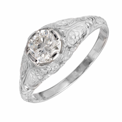 EGL Certified .56 Carat Diamond Platinum Engagement Ring