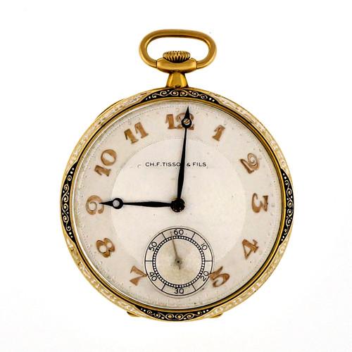 Art Deco CH.F.Tissot & Fils 18k Gold Black White Enamel Pocket Watch