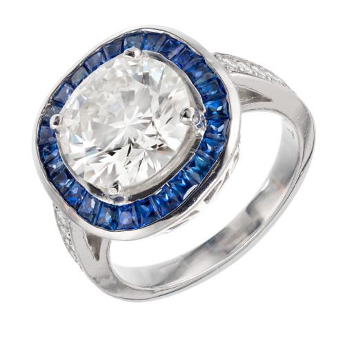 Vintage Transitional Cut Diamond 3.29ct Retro Art Deco Sapphire Halo Ring