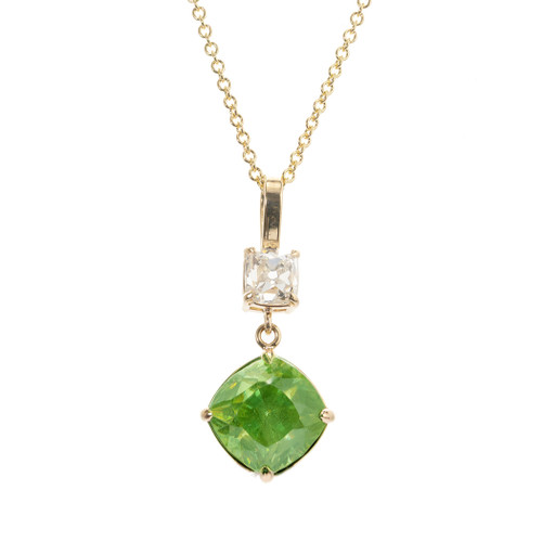 Peter Suchy GIA Certified 4.97 Carat Sphene Diamond Yellow Gold Pendant Necklace