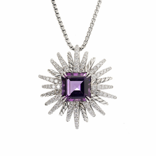 David Yurman Amethyst Diamond Sterling Silver Starburst Pendant Necklace