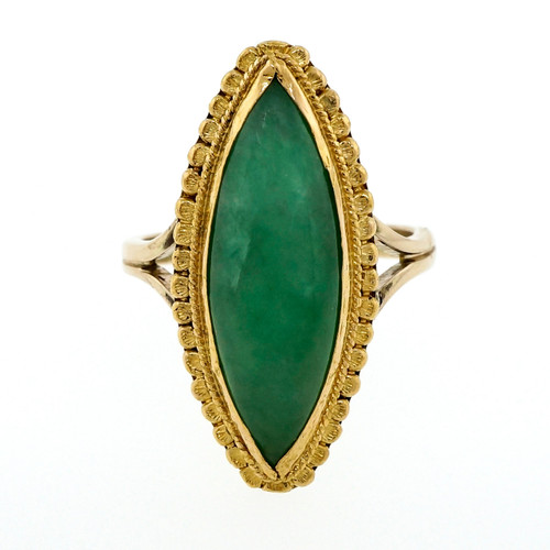 GIA Certified Natural Jadeite Jade Marquise Yellow Gold Cocktail Ring