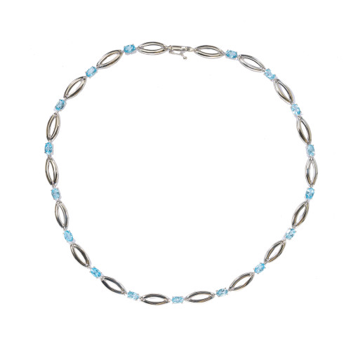 6.50 Carat Blue Topaz White Gold Necklace