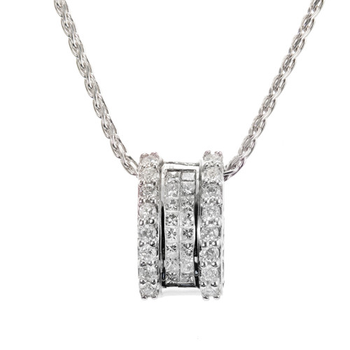 .82 Carat Diamond 14k White Gold Slide Pendant Necklace