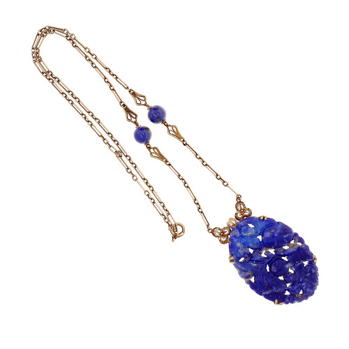 Carved Oval Natural Lapis Necklace 14k Yellow Gold