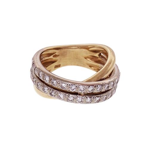 Estate Cross-Over Diamond Ring 18k Yellow Gold